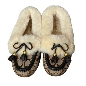 Coach Fiona Shearling Fur Moccasin Slippers Bow Tassel Front Size 6